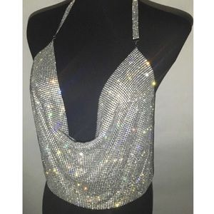 Silver Rhinestone Plunge Backless Camisole NWT
